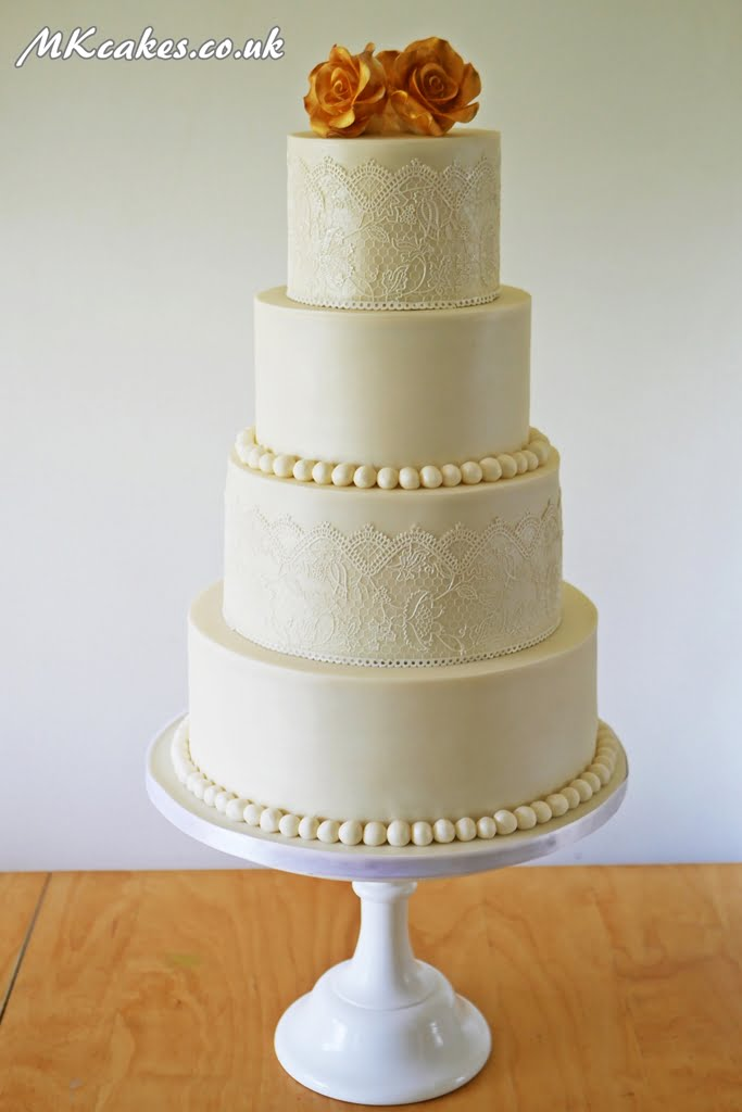 Pearl Lace and Gold Wedding Cake