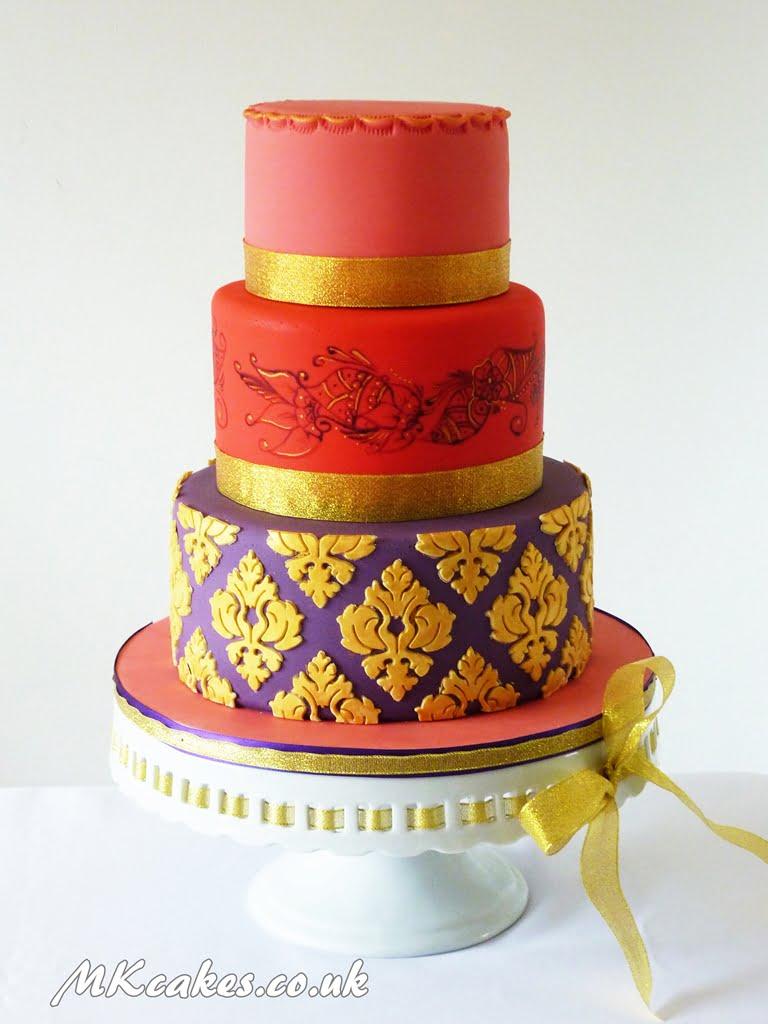 Damask and Henna Wedding Cake