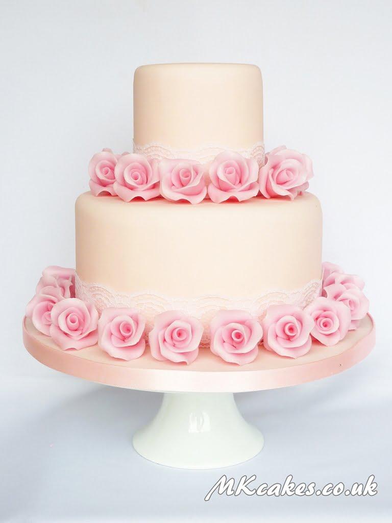 Classic Pink Roses Wedding Cake