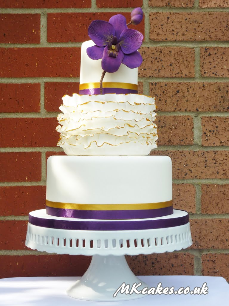 Ruffles with Orchid Wedding Cake