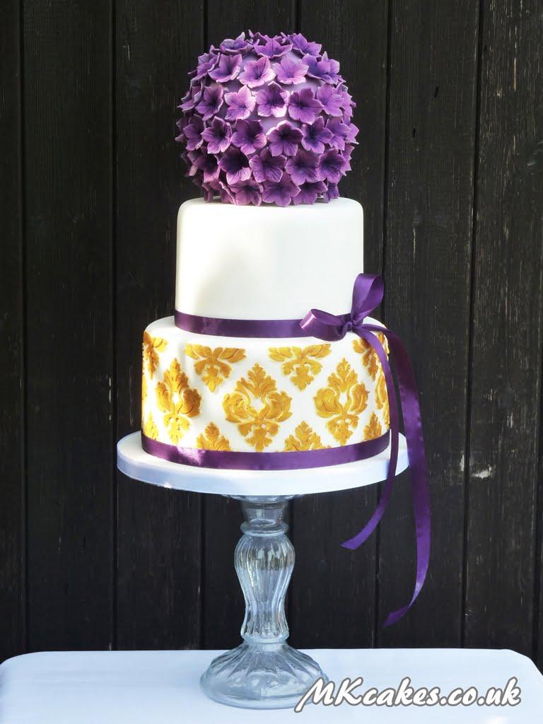 Gold and Purple Damask Wedding Cake