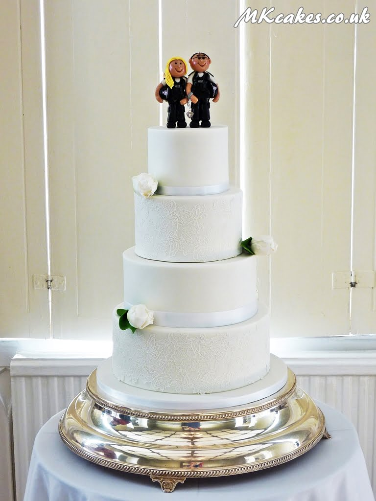 All White with Tulips Wedding Cake