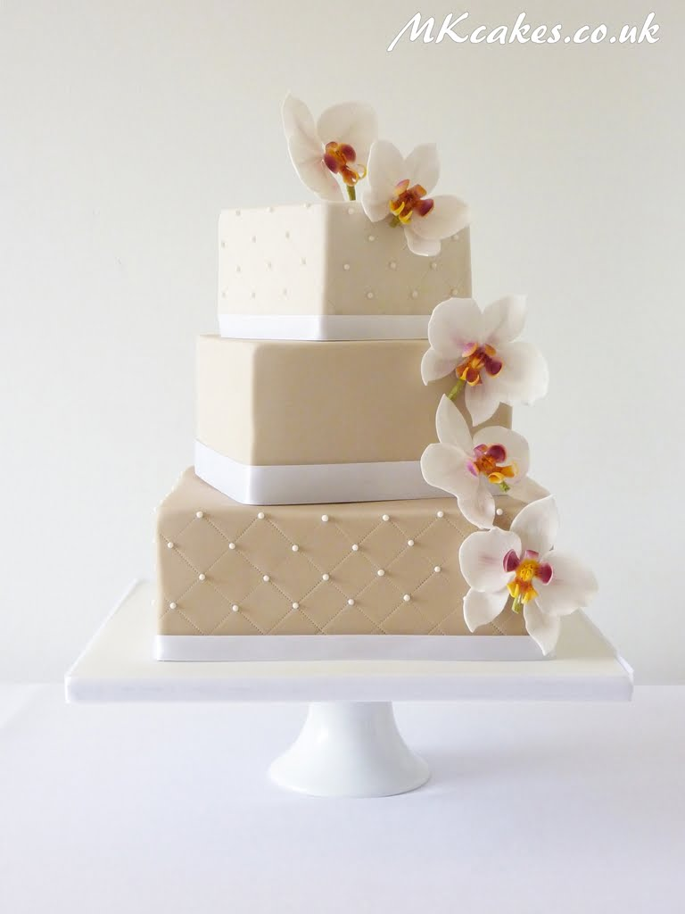 Square 3 tier cake with Orchids