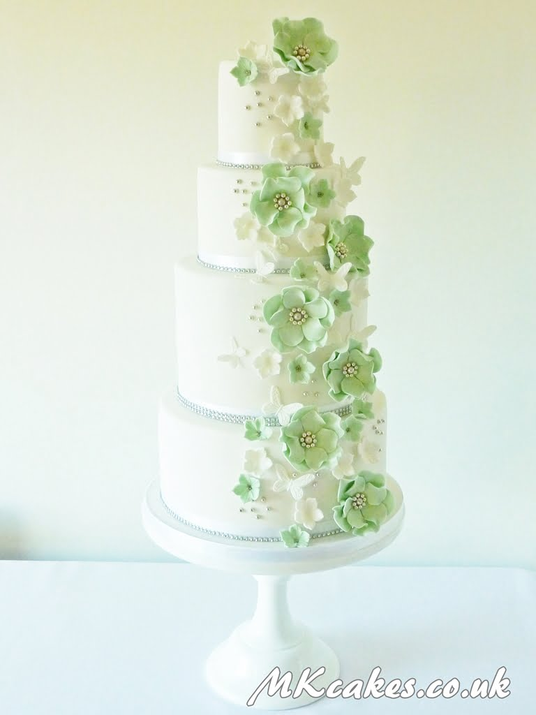 Pale Green and White Wedding Cake