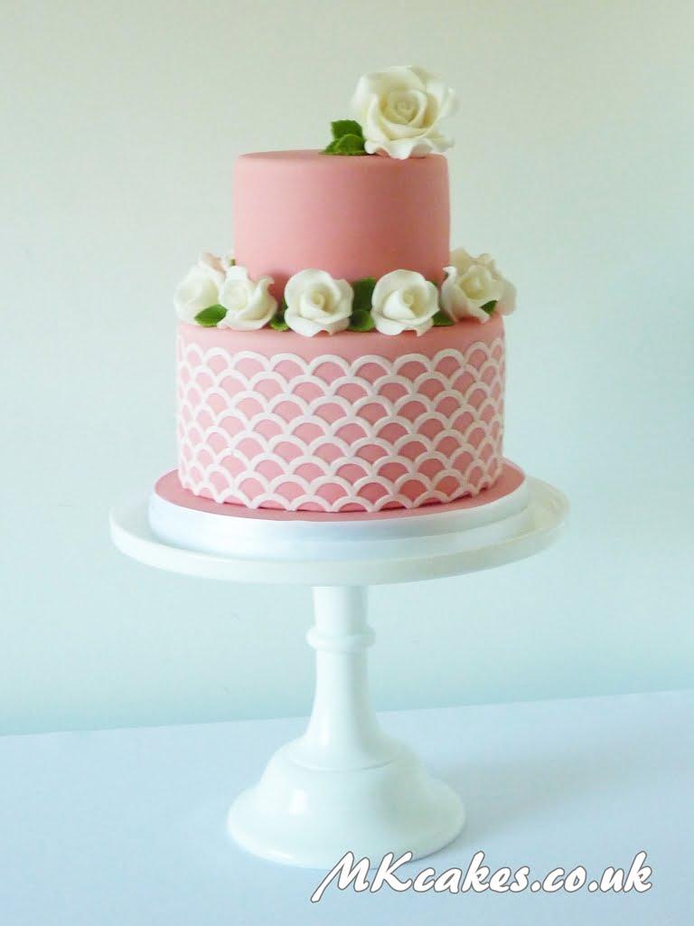Double Pink Wedding Ring Cake