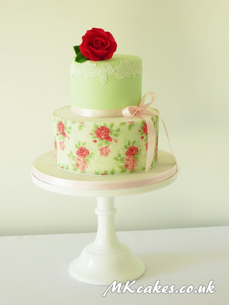Mint Green Vintage Wedding Cake