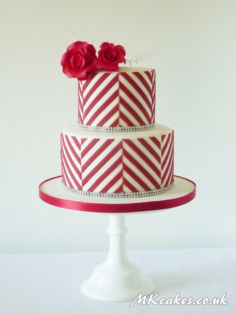 Modern Red Stripes Wedding Cake