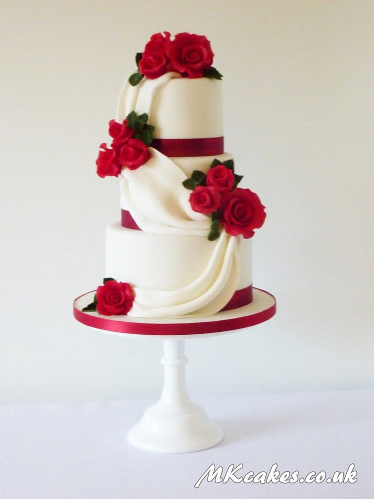 Classic Roses with Drape Wedding Cake