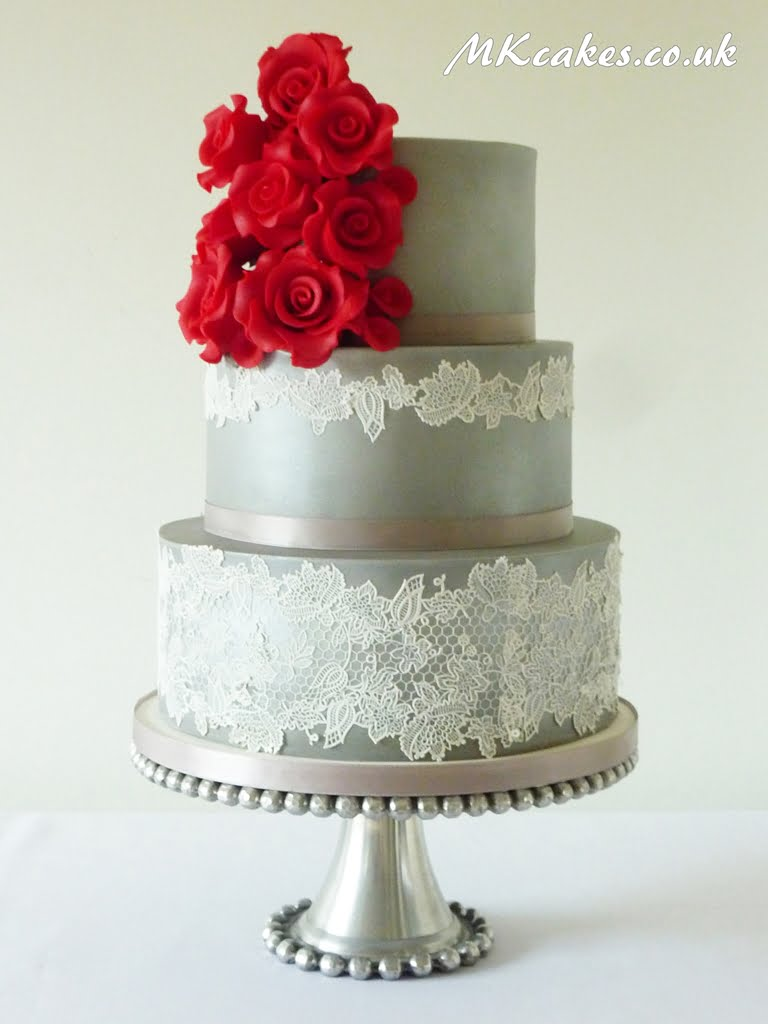 Silver with Roses Wedding Cake
