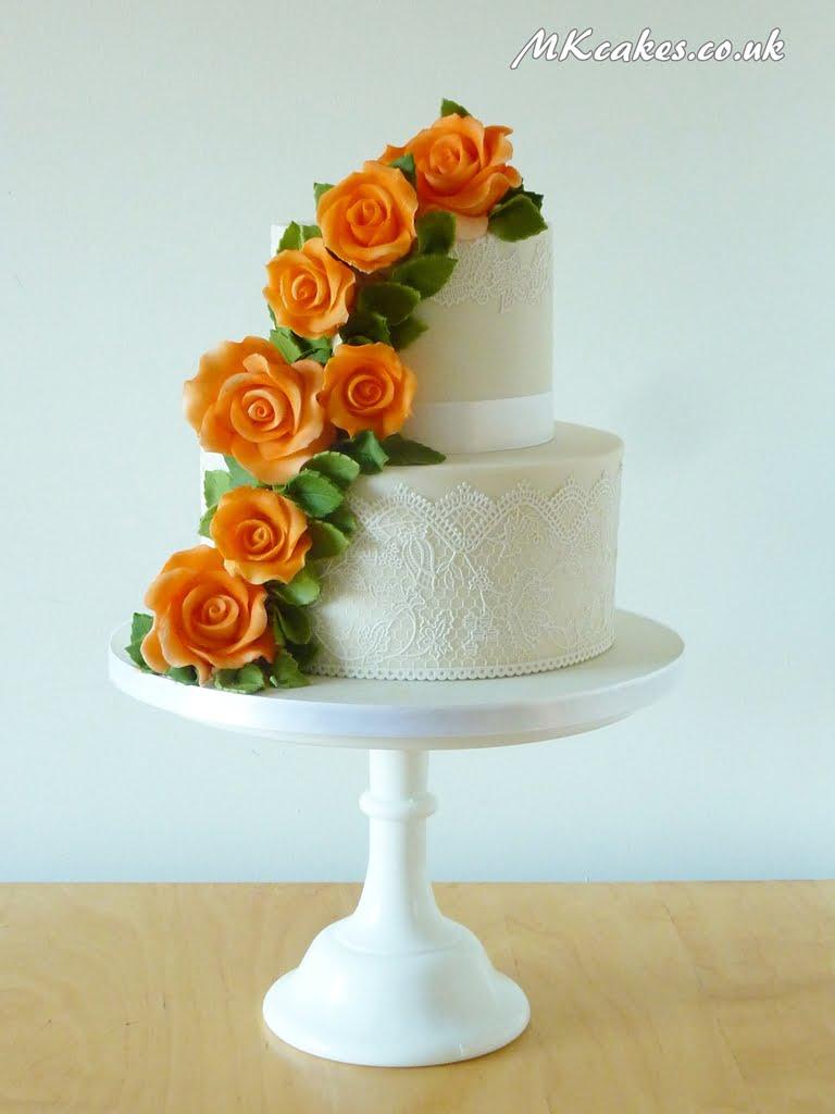Orange Roses and Lace Wedding Cake