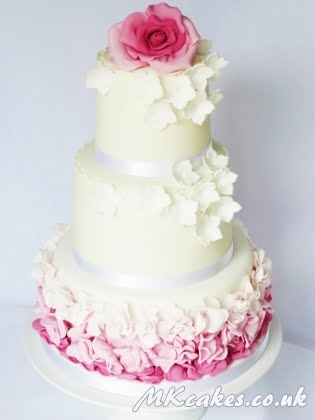 Ombre pink ruffles cake